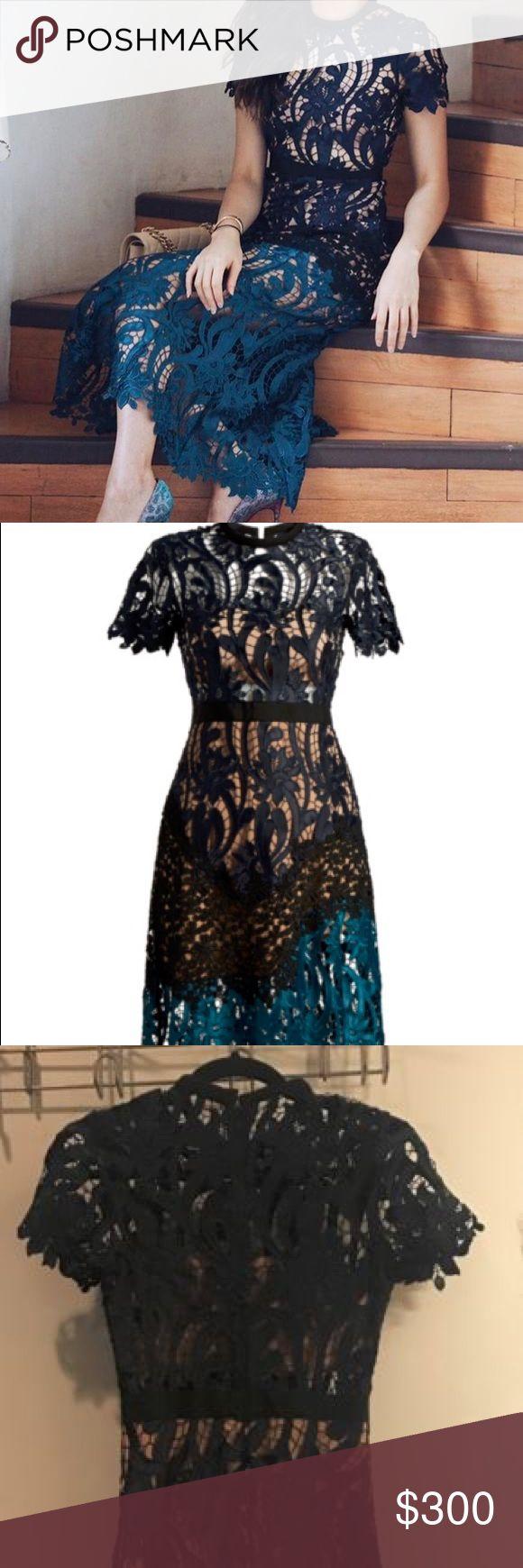 SELF-PORTRAIT Prairie lace midi dress SELF-PORTRAIT Prairie lace midi dress, Navy/Teal, UK 4, US 0, $510 Dresses Midi