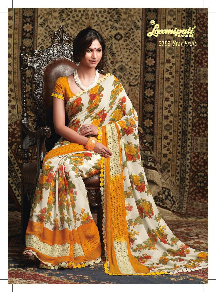 This Floral prints Georgette material saree with elegant border paati less