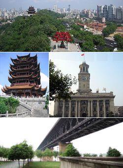 Wuchang: From top: Wuhan and the Yangtze River, Yellow Crane Tower, Wuhan Custom House, and Wuhan Yangtze River Bridge