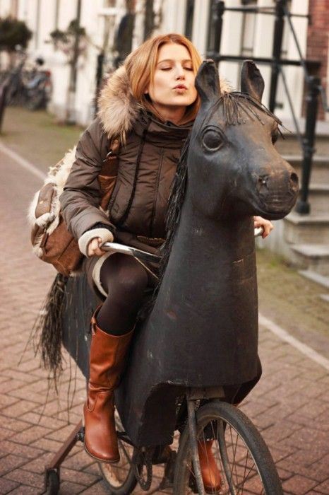*City Chick On Her Wanna Be Horse <3  Only in Holland.