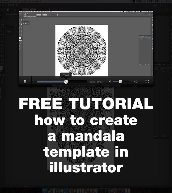 A free tutorial showing how to use illustrator to create a template for mandala designs, with alternate repeat sections.