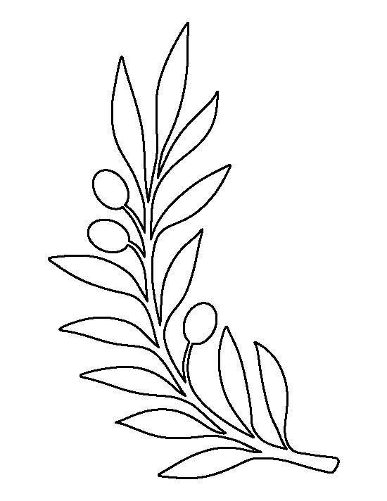 Olive branch pattern. Use the printable outline for crafts, creating stencils, scrapbooking, and more. Free PDF template to download and print at http://patternuniverse.com/download/olive-branch-pattern/