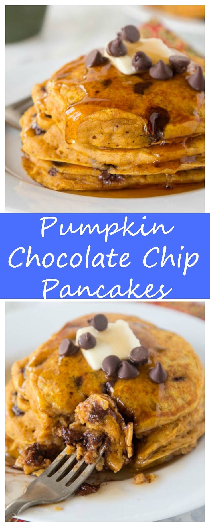 Pumpkin Chocolate Chip Pancakes – super light and fluffy pumpkin pancakes full with lots of chocolate chips and topped with maple syrup.