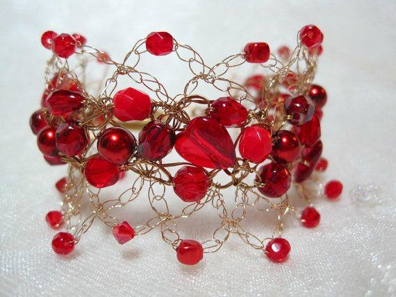 Red Heart Bracelet wire crochet bracelet handmade by HettyMarie