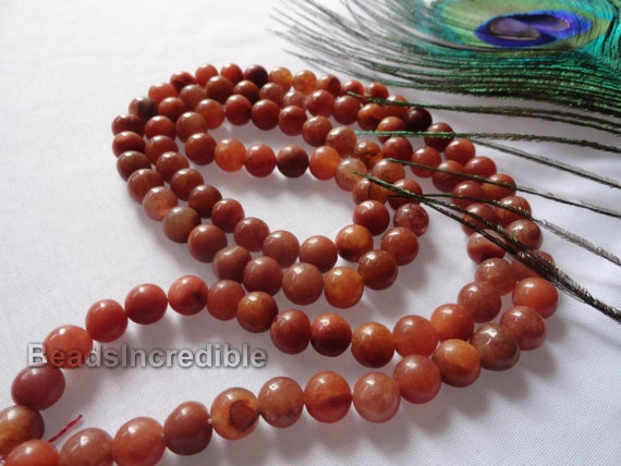 Red Aventurine Necklace 8MM 108 Aventurine by beadsincredible, $24.95