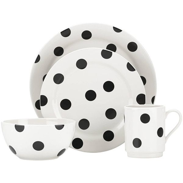 kate spade new york Deco Dot Dinner Set - 12 Piece ($172) ❤ liked on Polyvore featuring home, kitchen & dining, dinnerware, black, black dinner plates, black stoneware dinnerware, kate spade dinner plates, stoneware dinnerware and polka dot dinner set