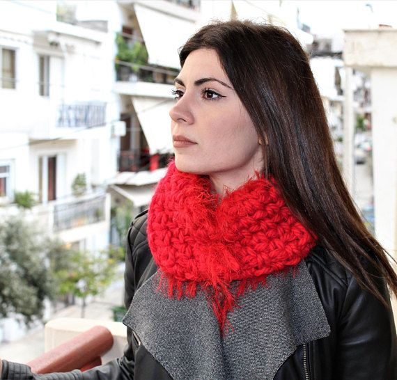 Snood chunky gift Knit cowl snood Red scarf wrap Red snood