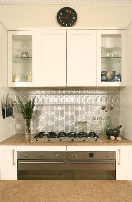 kitchen. pressed metal splashback