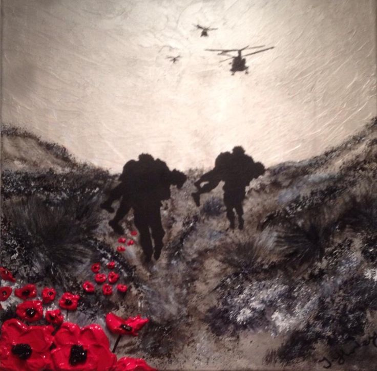 """Brothers In Arms"" By Jacqueline Hurley War Poppy Collection No.24 Port Out, Starboard Home POSH® Original Art Remembrance Day is every day"