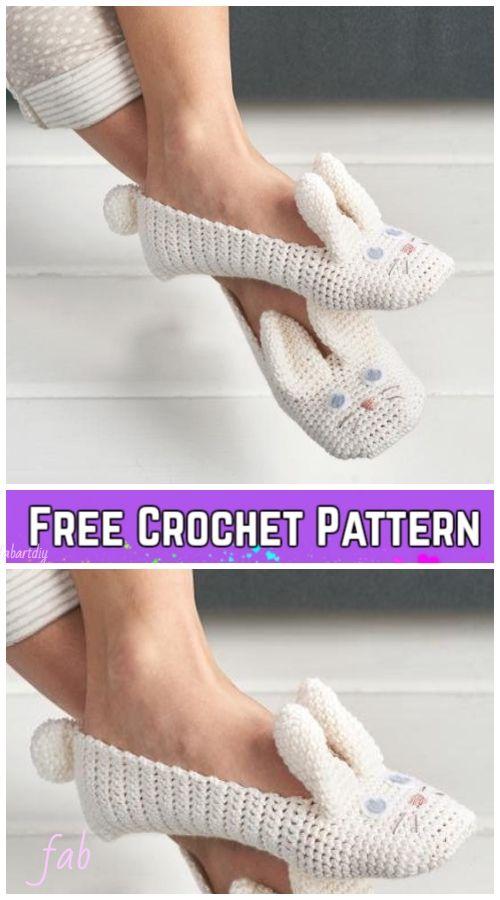 Crochet Women Bunny Slippers Free Crochet Pattern & Paid | Pantus y ...