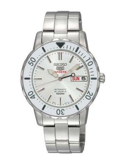 Montre Femme Seiko 5 SRP189K1 automatique, bracelet et boîtier acier, cadran blanc.