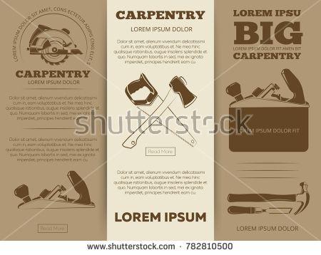 Stock Photo: Carpentry tools brochure flyers template design. Set banner illustration -