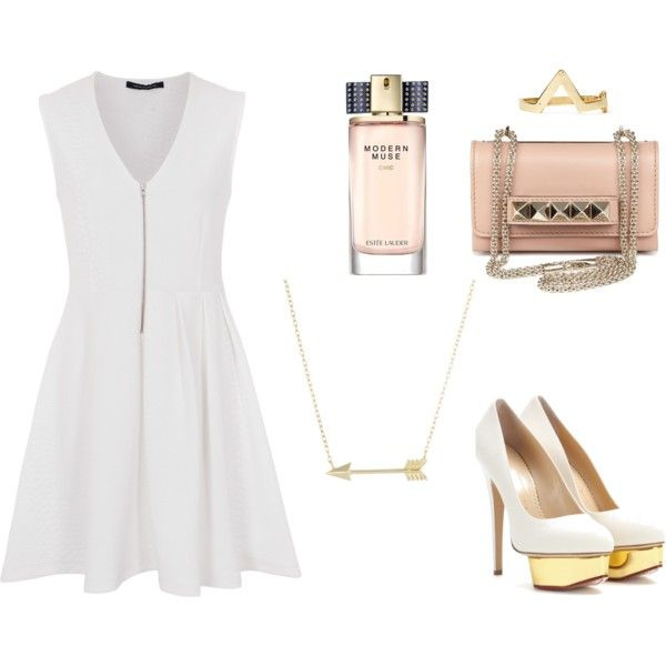 Modern muse with some white and gold spice by elenalovesu on Polyvore featuring French Connection, Charlotte Olympia, Valentino, Lord & Taylor, Estée Lauder and modern