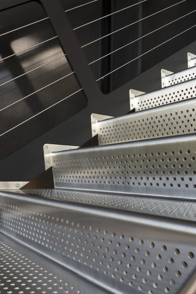Shokan House with perforated steel stairs closer look