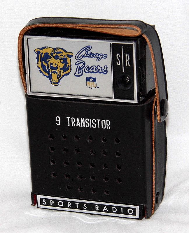 Vintage Chicago Bears NFL Novelty Transistor Radio By Sport Radio, Inc., Pre-Tuned Switch Electronically Locks In Your Favorite Team's Broadcast, Made In Hong Kong.