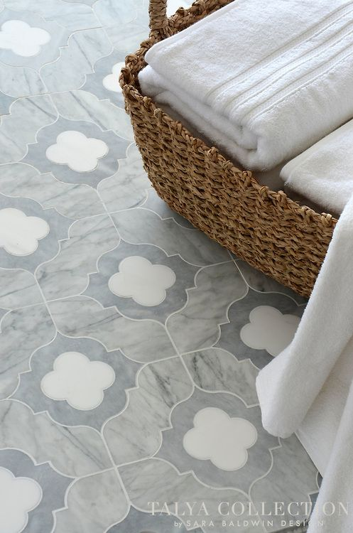 Irene, a stone waterjet mosaic shown in Allure honed, Snow White polished, and Avenza honed, is part of the Talya Collection by Sara Baldwin...