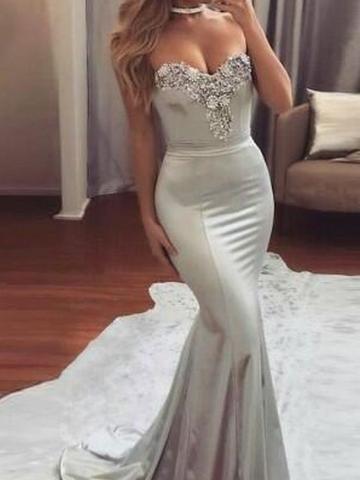 86b8fc16e5a Sweetheart Neck Appliqued Sweep Train Mermaid Dresses ASD2605