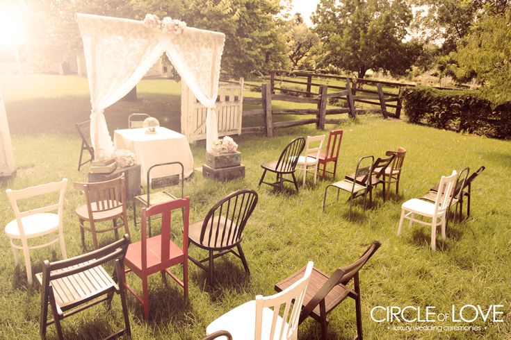 outdoor wedding with chairs with trees | Las Vegas Outdoor Weddings | Daytime Garden Wedding Packages