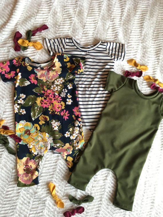Navy floral romper auntie baby