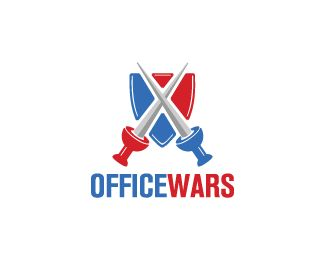 Office Wars Logo design - Logo of shield with pins in front shaped like swords. Price $260.00