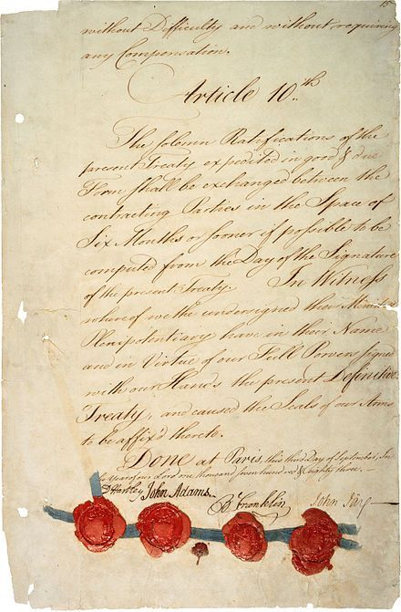 "Historical Event: ""The Treaty of Paris of 1783, negotiated between the United States and Great Britain, ended the revolutionary war and recognized American independence"" (http://www.history.com/topics/american-revolution/treaty-of-paris)"