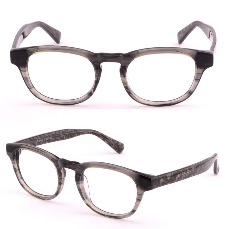 Women Men Acetate Plastic Key hole Frame Prescription Glasses RX Sunglasses Gray #Unbranded