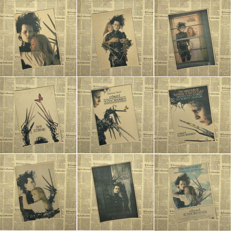 Edward Scissorhands Poster Beetlejuice Tim Burton movies Home Decor Custom Fashion Classic Wall Sticker