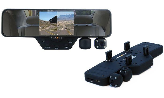 Falcon Zero F360 HD Car Rear-View Mirror Dash Cam: Falcon Zero F360 HD Car Rear-View Mirror Dash Cam with 2 Built-In Cameras