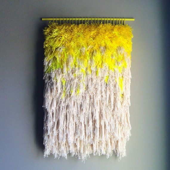 Furry lemon dreams // Handwoven Tapestry Wall hanging by jujujust