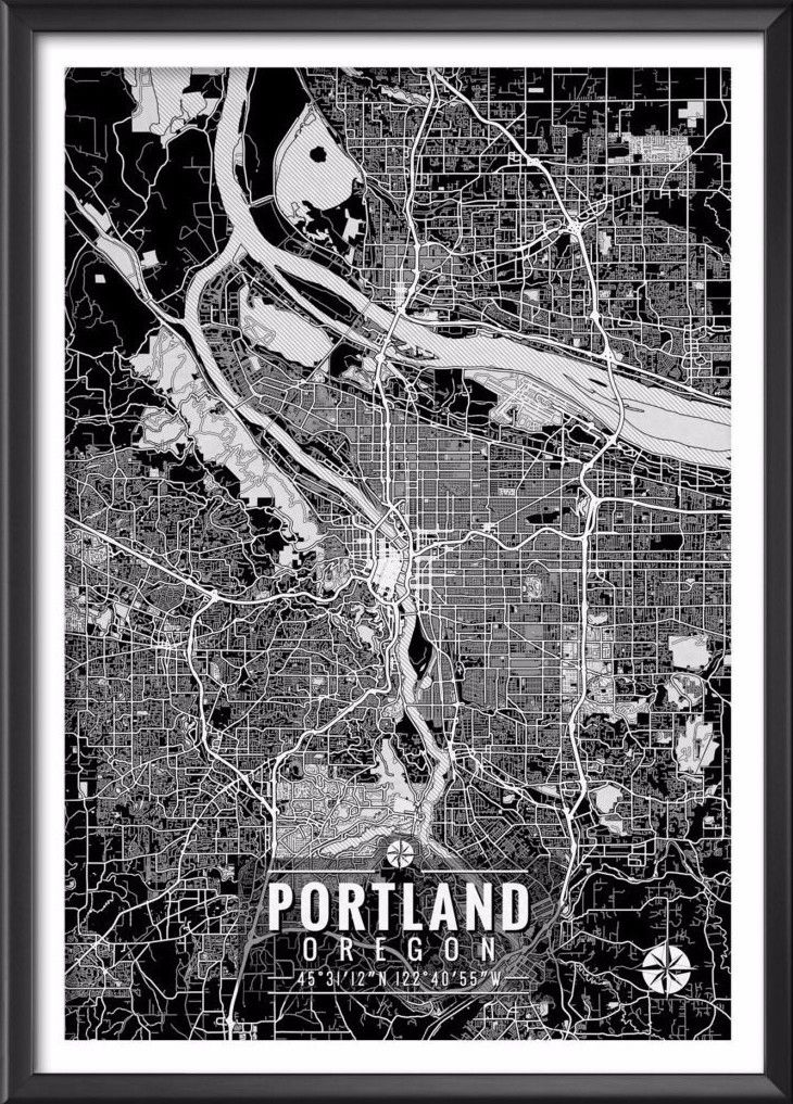 "Portland Oregon Map with Coordinates _______________________________ - Print size available in: 13"" x 19"", 12"" x 18"", 11"" x 14"", 8"" x 10"", 6"" x 8"", or 5"" x 7"". Example shown is 13"" x 19"". - Printed on"