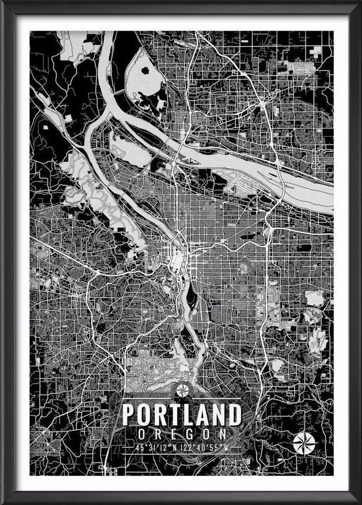 "Portland Oregon Map with Coordinates _______________________________ - Print size available in: 13"" x 19"", 12"" x 18"", 11"" x 14"", 8"" x 10"", 6"" x 8"", or 5"" x 7"". Example shown is 13"" x 19"". - Printed on"
