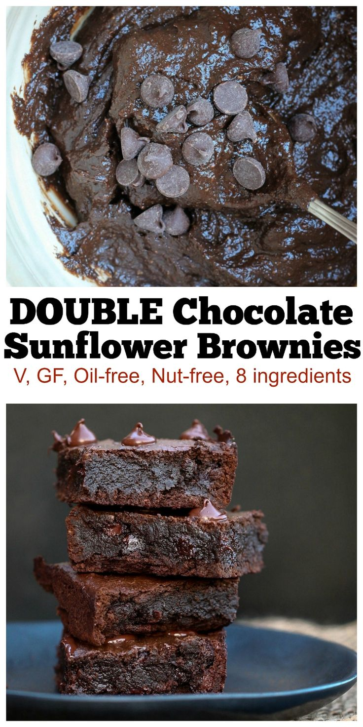 BEST Brownies I've ever had in my life, hands down. Rich, dense, fudgy chocolatey brownies! These are just 8 ingredients and are vegan, gluten-free, oil-free and nut-free! The best brownies I've made to date! | http://TheVegan8.com | #vegan #glutenfree #nutfree #oilfree #brownies #sunbutter #chocolate