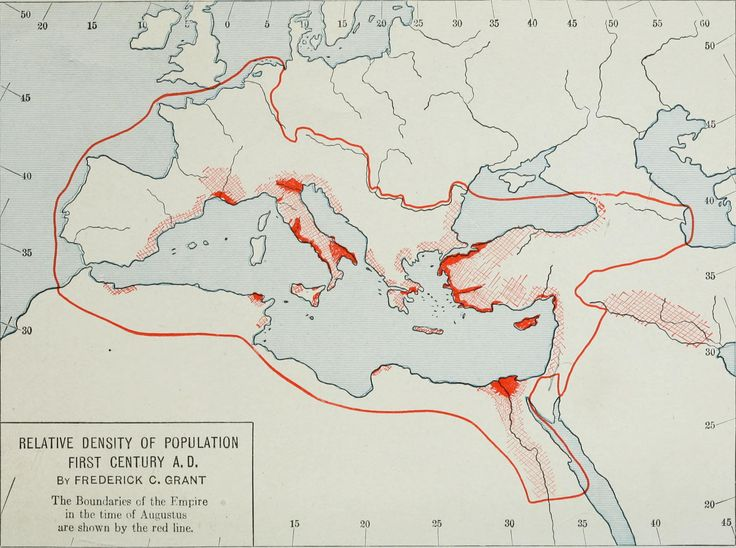 The early days of Christianity (1922) : relative density of population 1st century A.D