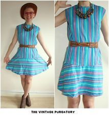 Vintage Dress Size 16 M Scooter Mod Twiggy Stripe Blue Summer Beach 70s 60s Mini