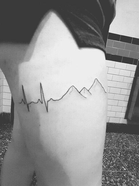 Heartbeat mountain tattoo