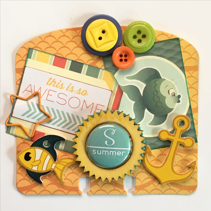 By the Sea Ocean Fish & Anchors Rolodex Memorydex Card by Jackie Benedict