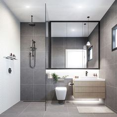 "2,685 Likes, 49 Comments - Scandinavian Lifestyling (@simple.form) on Instagram: ""Contemporary & refreshing Grey bathroom with elements of timber, Greenery & monochrome details.…"""