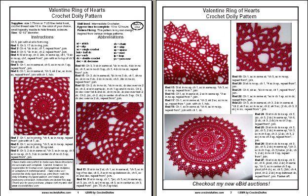 Free Daffodil Doily Crochet Pattern : PDF Crochet Patterns -Valentine Ring of Hearts Crochet ...