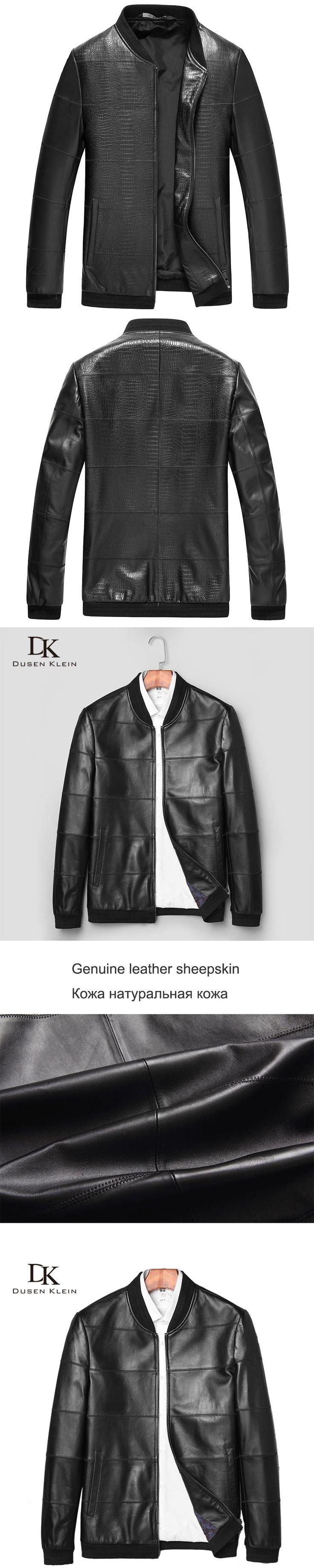 Crocodile pattern leather coats men Genuine sheepskin Dusen Klein Simple Slim/Fashion men leather coat and jacket black J1690A