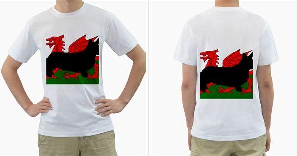 Cardigan+Welsh+Corgi+Silo+Wales+Flag+Men's+T-Shirt+(White)+(Two+Sided)