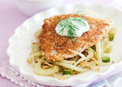 Stekt, panerad torskfilé med fänkål och senapssås | MåBra - Nyttiga recept