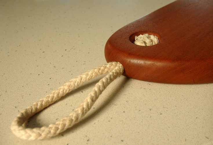 African Mahogany cutting board rope attachment detail