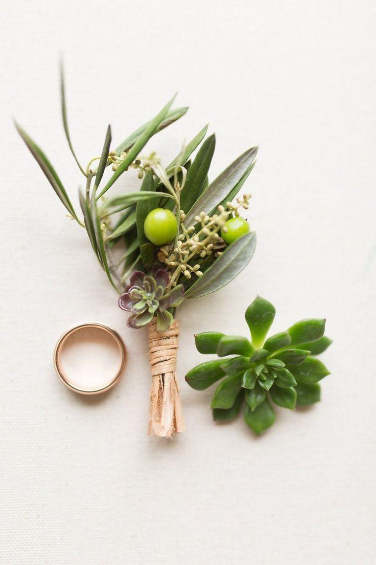 Romantic Chic Barn Wedding Inspiration - Green Boutonniere