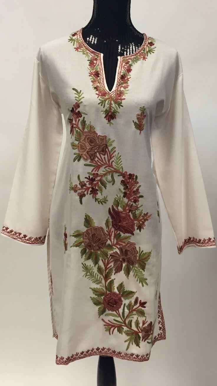 Kashmiri Embroidered Long Kurti - White