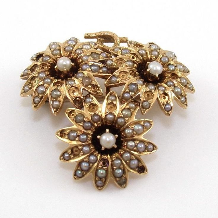 Vintage Antique 14K  Yellow Gold Pearl Daisy Flower Bouquet Pin Brooch QR1