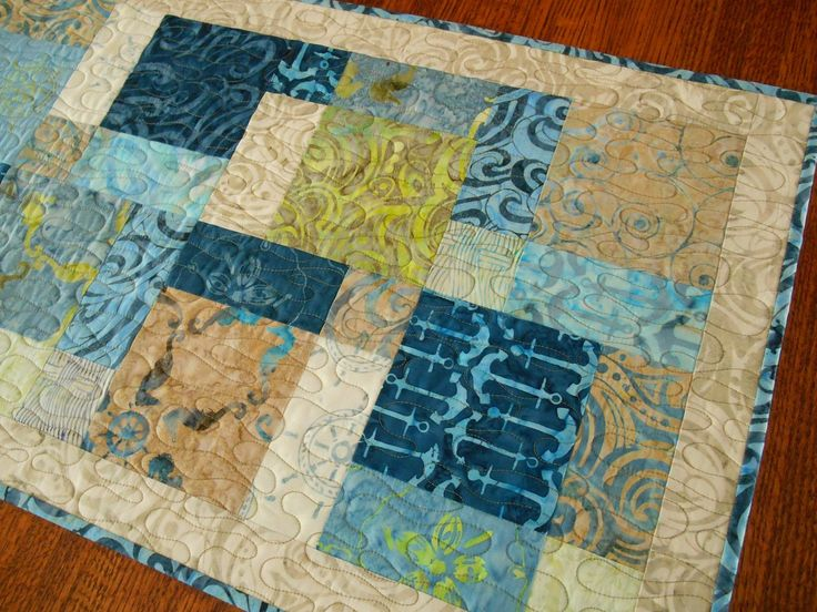 Quilted Batik Table Runner In Blues And Greens, Ocean Theme, Beach Home  Decor,