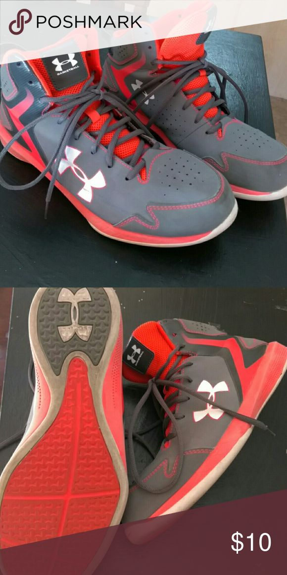 Basketball shoes Gray and orange high top basketball shoes Under Armour Shoes Sneakers