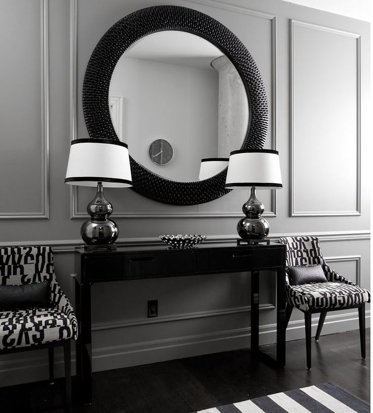 ♅ Dove Gray Home Decor ♅  dramatic grey and black entry