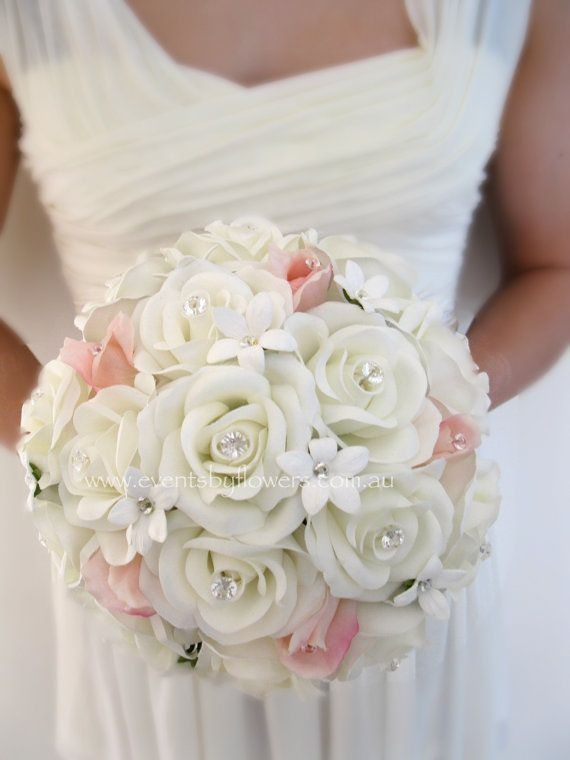 Vintage Wedding Bouquet Ivory white peach Rose Stephanotis posy diamante silk real touch flowers Beach Destination Bridal flowers
