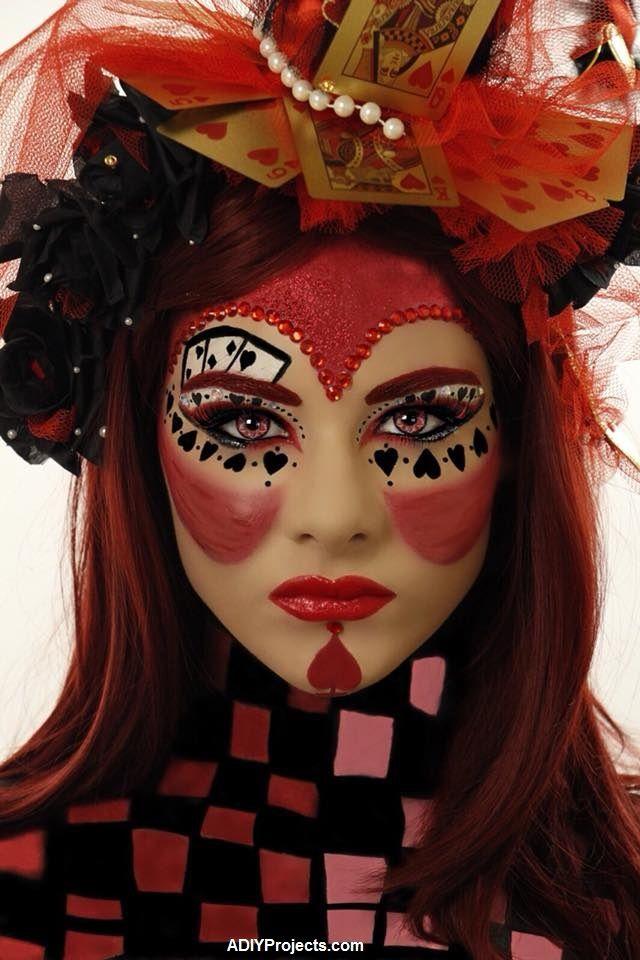 Red Queen Queen Of Hearts Halloween Makeup Tutorial Red Queen Makeup Queen Of Hearts Halloween Cute Clown Makeup